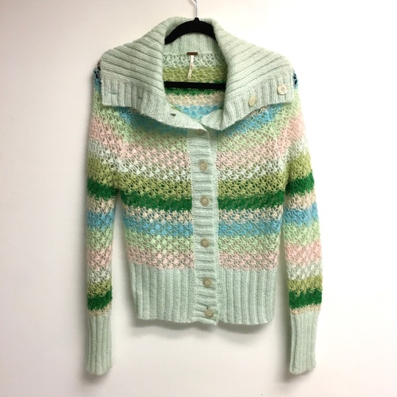 FREE PEOPLE Mohair Wool Striped Cardigan Sweater S